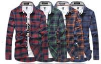 2014 New fashion men slim sleeve shirts ,Men's plaid leisure four color shirt