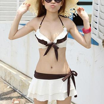 Новый 2014 сексуальная девушка в / женская комплект бикини пуш-ап пуш ап купальник спа купальники костюм юбка белый
