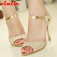 VINLLE 2014 fashion  high-heeled shoes open toe sandals summer dress shoes for women sandals size 34-43
