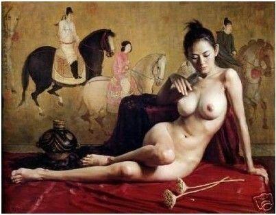 100% handmade pintura a óleo da arte da parede da lona: nus oriental menina chinesa(China (Mainland))