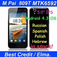 "IN Stock! Ultra-Slim Octa Core mobile phone M Pai 809t MTK6592 5.0"" OGS IPS android 4.3 2GB+16GB 8.0MP GPS Russian Menu 3G /Elma"
