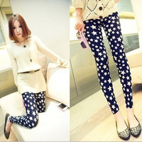 Fashion Trend Black/Blue Women Sexy Thin Star Printed Leggings Pants  Free shipping &drop shipping