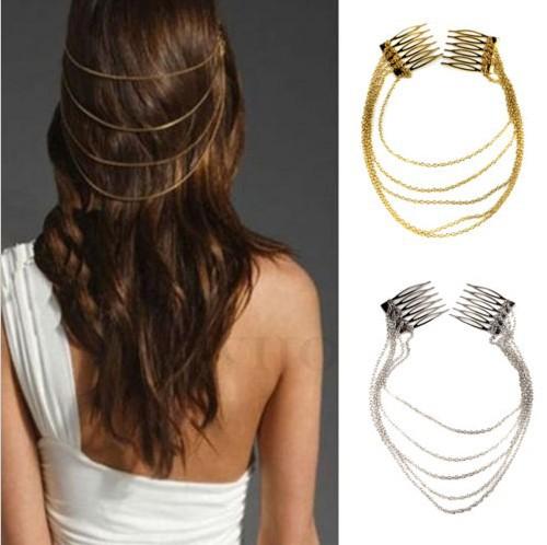 1 x Fashion Punk Hair Cuff Pin Clip 2 Combs Tassels Chains Head Band Silver/Gold Free(China (Mainland))