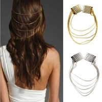 1 x Fashion Punk Hair Cuff Pin Clip 2 Combs Tassels Chains Head Band Silver/Gold Free