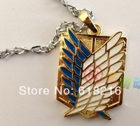Attack on Titan Shingeki no Kyojin Cosplay Levi Scouting Recon Corps The Wings of Freedom Necklace silver and golden color N2001