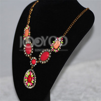 2014 Charming Rose Red Gem Setting Pendant Necklace & Chains Necklace Retail For Women Free Shipping