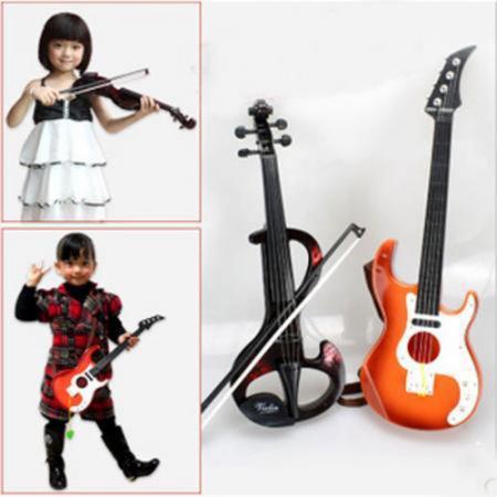 Neue Kind kinder elektronischen violine + hand gitarre metallinstrument spielzeug kinder musikinstrument Bündel Musik spielzeug versandkostenfrei
