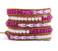 Top Quality Selected Glass Beads With Semi Precious Stone Woven Wrap Bracelets Beading Pattern Wrap Bracelet