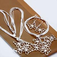 Free shipping wholesale  925 silver jewelry set, fashion jewelry butterfly necklace + bracelet + earrings Jewelry Set S012