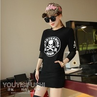 Fast/Free Shipping New 2014 Spring Handsome Skull Print Pattern Faux Two Piece Hip Slim Dress Women Casual Dresses A1692