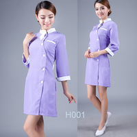 2014 Beauty salon uniform  purple overall nurse uniform nurse tunic skirt