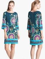 New 2014 Spring Italy Designer Brand Dress Women's Slash Collar Stunning Print Stretch Jersey Silk 3/4 Sleeve Casual Dress,XXL