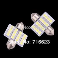 2pcs/lot 31mm White Dome 16 LED 1210 SMD Interior Light Lamp Bulb Festoon C5W 12V Free Shipping Wholesale