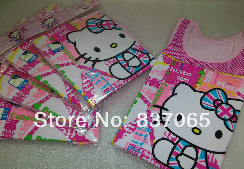 Name Brand Infant Clothing Hello Kitty Children Tanks & Camisoles Kids Lycra Underwear Tops(China (Mainland))
