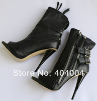 Double-Buckle cow leather peep toe motorcycle boots ,punk booties with zipper ,stiletto heel summer sandal boots free shipping