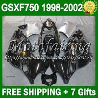 For SUZUKI KATANA GSXF750 black  GSXF 750 GSX750F  27C4 GSXF-750 98 99 black silver 00 01 02 1998 1999 2000 2001 2002 Fairing