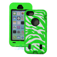 3-Piece Hybrid ZEBRA HIGH IMPACT COMBO HARD RUBBER CASE For iPhone 5C Green Case + PEN A140-G