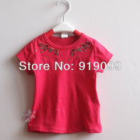 Baby Clothing Baby Girl T shirt  Tops Tees Short Sleeve Embroidery Flower  Lycra Cotton Wholesale 5 pcs a lot Free Shipping