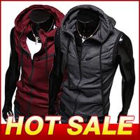 Men Fashion Sleeveless Hooded Jacket Casual College Style Jackets Hoody Sportswear Men's Clothing Hoodies Sweatshirts X230