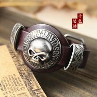 (Min order $10USD) Cool Men Woman Skull Wristband Bracelet Punk Rock Genuine Leather Bracelets