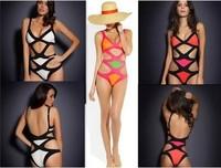 2014 Hot Fashion Sexy One Piece Swim Suits Vintage Bandage Swimsuit Paris Beachwear Push UP Swimwear Plus Size