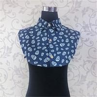 all-match denim skull shirt false collar sleeveless female peaked collar