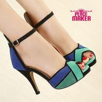2014 new platform women's pumps Mix color Fashion high-heeled shoes  party dress shoes women's shoes sequined parts shoes