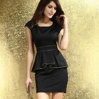 2014 New Fashion Sexy Mini Dress Summer Women Casual Black White One-Piece Ivory Gold Trim Peplum Dress HF2817 Free Shipping