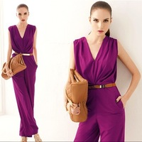 2014 New fashion women full length purple/green regular solid female OL jumpsuit macacao