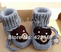Free shipping baby bear  shoes newborn shoes handmade crochet photography props newborn baby shoes