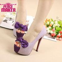 2014 new platform women's pumps Bowtie flower Fashion high-heeled shoes  party dress shoes women's shoes sequined parts shoes
