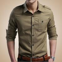 Mens Casual Shirts Slim Fit Solid Cotton Man Long Sleeve shirts High Qualidy M L XL XXL XXXL China Brand CN Size