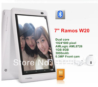 7inch Ramos W20 AML8726-MXS Dual Core Tablet PC Multi Touch 1GB RAM 8GB ROM 2G GSM Bluetooth HDMI GPS Android 4.1 Free Shipping