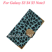 20pcs/Lot Crystal Diamond Leopard PU Leather Design Case For Samsung Galaxy S3 i9300 S4 i9500 Note 3 N9000