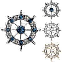 Rhinestone Nautical Ships Wheel Helm Brooch Pin Wholesale 2Pcs/Lot  Rudder Brooch Pin Four Colors High Quality Free Shipping