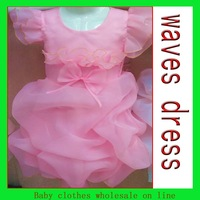 Chiffon children dress 2 size high waist baby dress princess two color choose baby girl party dress wedding dress for girls