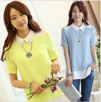 2014 summer new Korean Plus size Blouses Tops  chiffon shirt free shipping