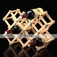 031306 Solid wood creative folding wine rack home durable ten bottles