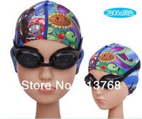 Free shiping swimsuit Children's cartoon cap senior Lycra swimming cap + Swimming goggles Glasses with UV+antifog  boys