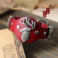 (Min order $10USD) Fashion Coo Elk Metal Stud Genuine Leather Wristband Bracelets Bracelet