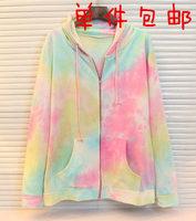 Zipper HARAJUKU shibuya tie-dyeing rainbow colored with a hood zipper sweatshirt outerwear