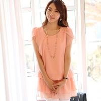 New 2014 women Summer Blouse Chiffon Blouse solid Ruffles o-neck korea fashion Lace Blouse plus size loose 3 color M-XXL