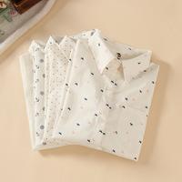 2014 spring women shirt straight all-match anchor dot white turn-down collar long-sleeve