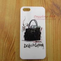 Free Shipping brand handbag print phone case  for iphone 4 silicone TPU soft phone cover for iphone 4 fashion handbag phone case