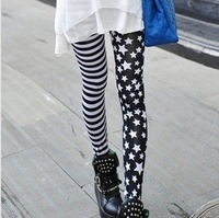 FREE SHIPPING The new dress 2014 stripes stars splicing leggings Fashion, Yin and Yang are asymmetric nine minutes of pants