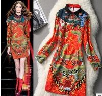 2014 Fashion Runway dress, Women's Chinese style dragon Propitious Clouds Pattern printing long-sleeve  dress