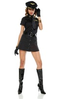 Black sexy policewoman costumes dress temptation role play sexy lingerie 9664-2 , free shipping