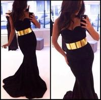 Gossip Prom Gown Elegant Satin Black Cheap Mermaid Prom Dresses Gold Belt Girls Dresses Free Shipping DB10