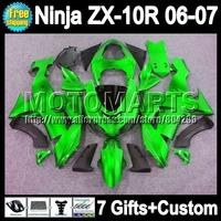 7gifts For Light green KAWASAKI 2006-2007 NINJA ZX10R 10 R ZX 10R 20Q243 NEW Glossy green ZX-10R Fairings 06 07 2006 2007