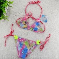 wholesale baby girls swimsuit blue and pink Princess Bikini Swimwear green apple kids summer Beachwear (3T-12T) 5pcs/lot